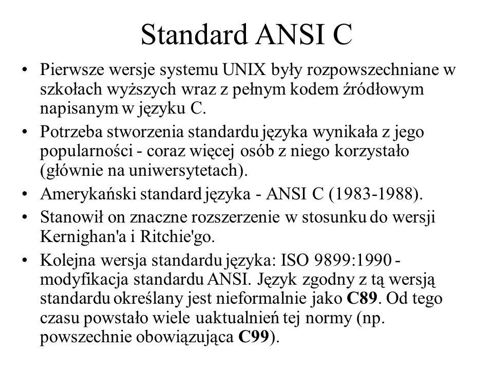 Standard ANSI C Pierwsze wersje systemu UNIX były rozpowszechniane w szkołach wyższych wraz z pełnym kodem źródłowym napisanym w języku C. Potrzeba st