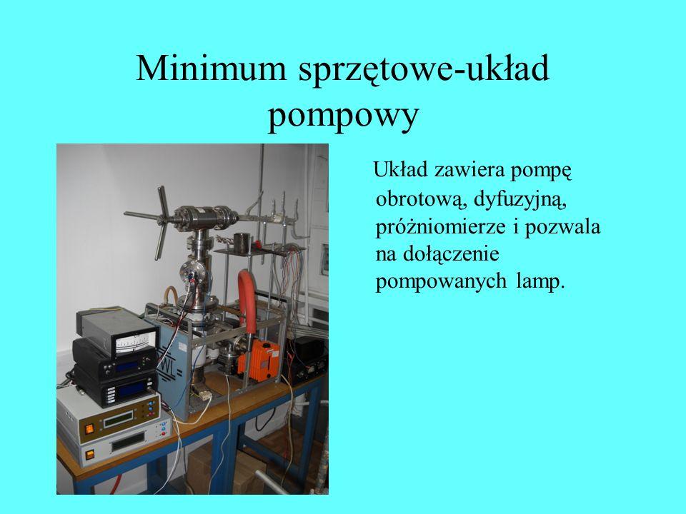 Minimum sprzętowe-układ pompowy Układ zawiera pompę obrotową, dyfuzyjną, próżniomierze i pozwala na dołączenie pompowanych lamp.