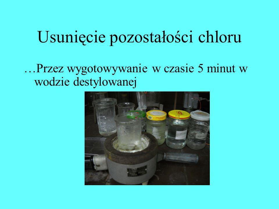 Usunięcie pozostałości chloru …Przez wygotowywanie w czasie 5 minut w wodzie destylowanej