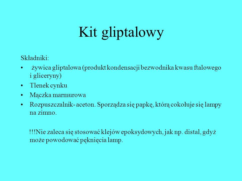 Kit gliptalowy Składniki: żywica gliptalowa (produkt kondensacji bezwodnika kwasu ftalowego i gliceryny) Tlenek cynku Mączka marmurowa Rozpuszczalnik-