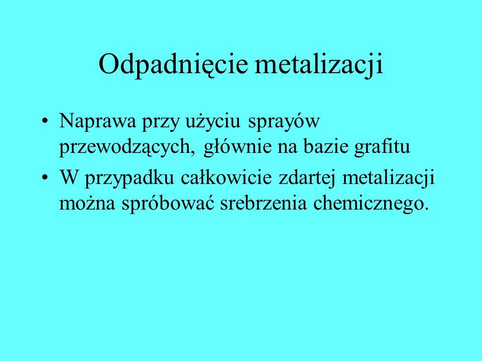 Odpadnięcie metalizacji Naprawa przy użyciu sprayów przewodzących, głównie na bazie grafitu W przypadku całkowicie zdartej metalizacji można spróbować