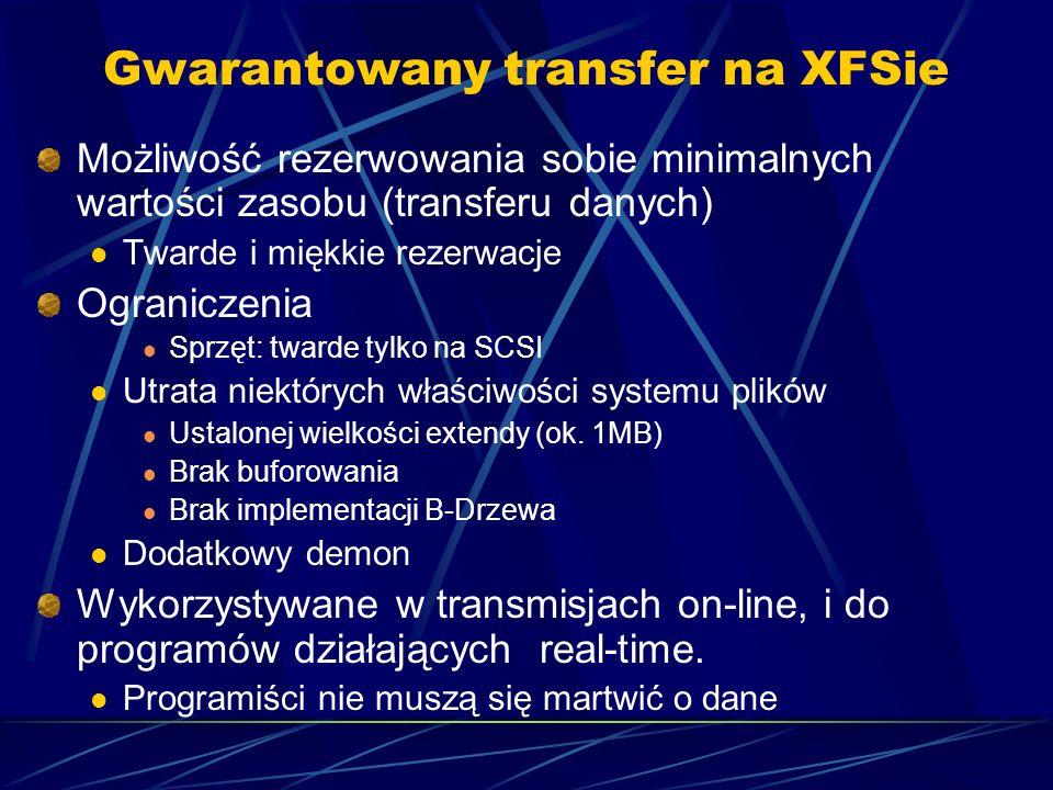 Gwarantowany transfer na XFSie Możliwość rezerwowania sobie minimalnych wartości zasobu (transferu danych) Twarde i miękkie rezerwacje Ograniczenia Sp