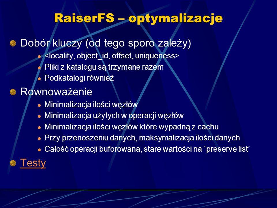 RaiserFS – optymalizacje Dobór kluczy (od tego sporo zależy) Pliki z katalogu są trzymane razem Podkatalogi również Rownoważenie Minimalizacja ilości