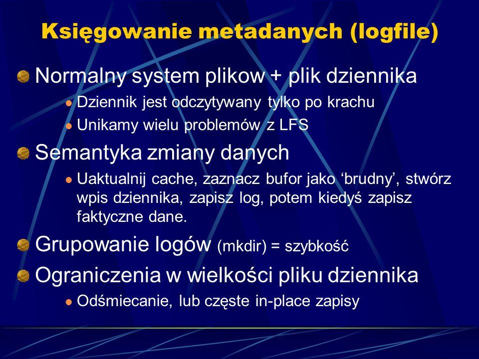 Księgowanie metadanych (logfile) Normalny system plikow + plik dziennika Dziennik jest odczytywany tylko po krachu Unikamy wielu problemów z LFS Seman