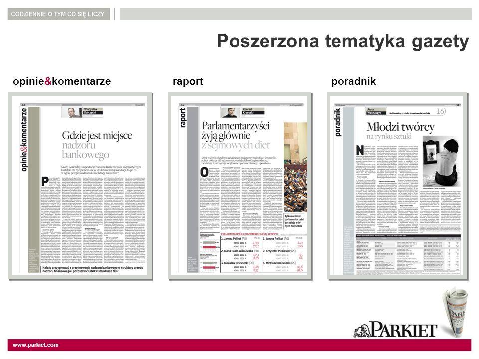 www.parkiet.com Poszerzona tematyka gazety opinie&komentarzeraportporadnik