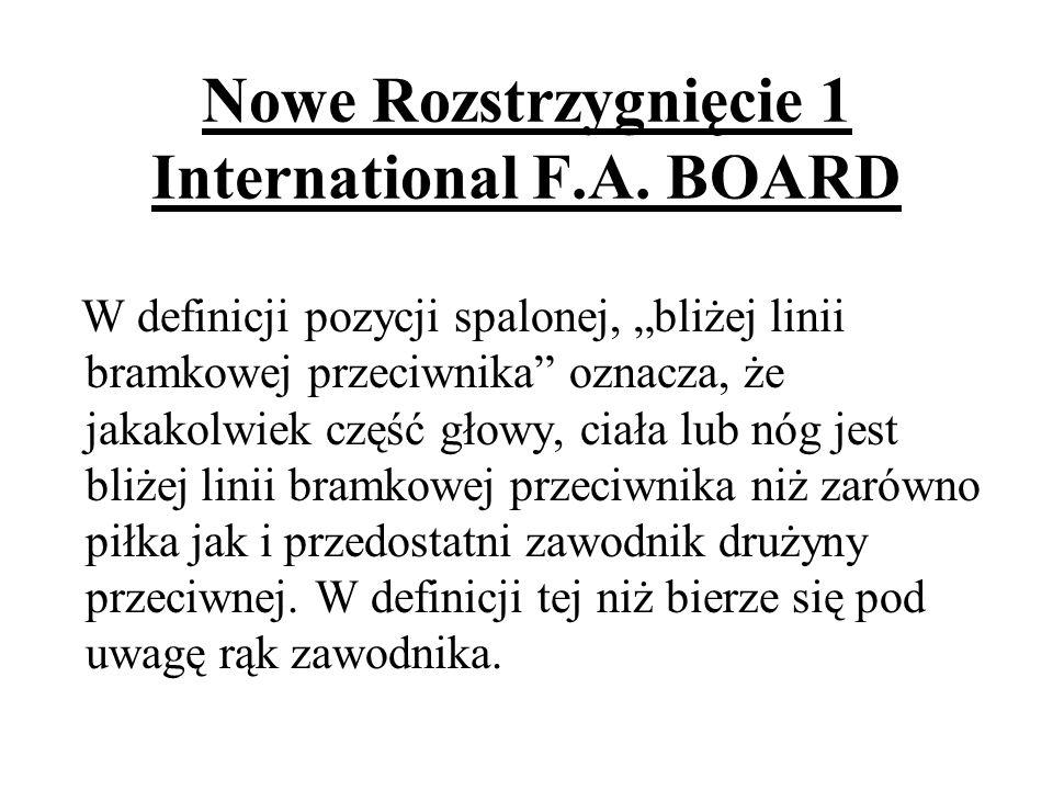 Nowe Rozstrzygnięcie 1 International F.A. BOARD W definicji pozycji spalonej, bliżej linii bramkowej przeciwnika oznacza, że jakakolwiek część głowy,