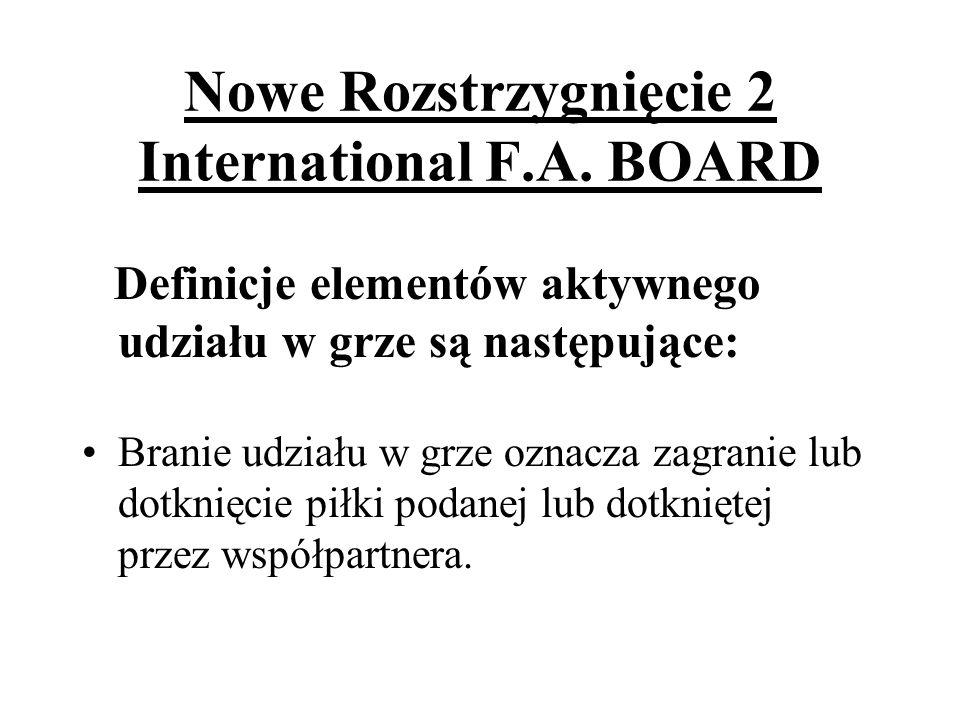 Nowe Rozstrzygnięcie 2 International F.A. BOARD Definicje elementów aktywnego udziału w grze są następujące: Branie udziału w grze oznacza zagranie lu