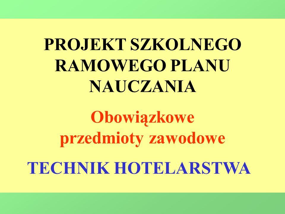 PROJEKT SZKOLNEGO RAMOWEGO PLANU NAUCZANIA Obowiązkowe przedmioty zawodowe TECHNIK HOTELARSTWA