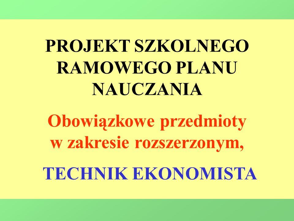 PROJEKT SZKOLNEGO RAMOWEGO PLANU NAUCZANIA Obowiązkowe przedmioty w zakresie rozszerzonym, TECHNIK EKONOMISTA