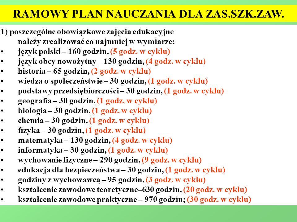 1) poszczególne obowiązkowe zajęcia edukacyjne należy zrealizować co najmniej w wymiarze: język polski – 160 godzin, (5 godz. w cyklu) język obcy nowo