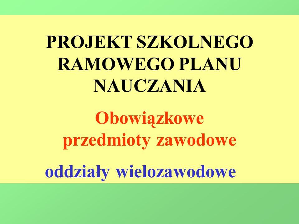 PROJEKT SZKOLNEGO RAMOWEGO PLANU NAUCZANIA Obowiązkowe przedmioty zawodowe oddziały wielozawodowe