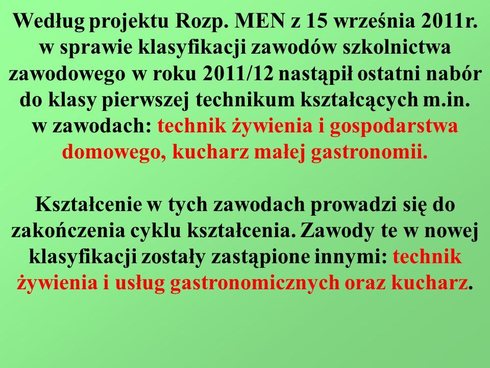 Według projektu Rozp. MEN z 15 września 2011r. w sprawie klasyfikacji zawodów szkolnictwa zawodowego w roku 2011/12 nastąpił ostatni nabór do klasy pi