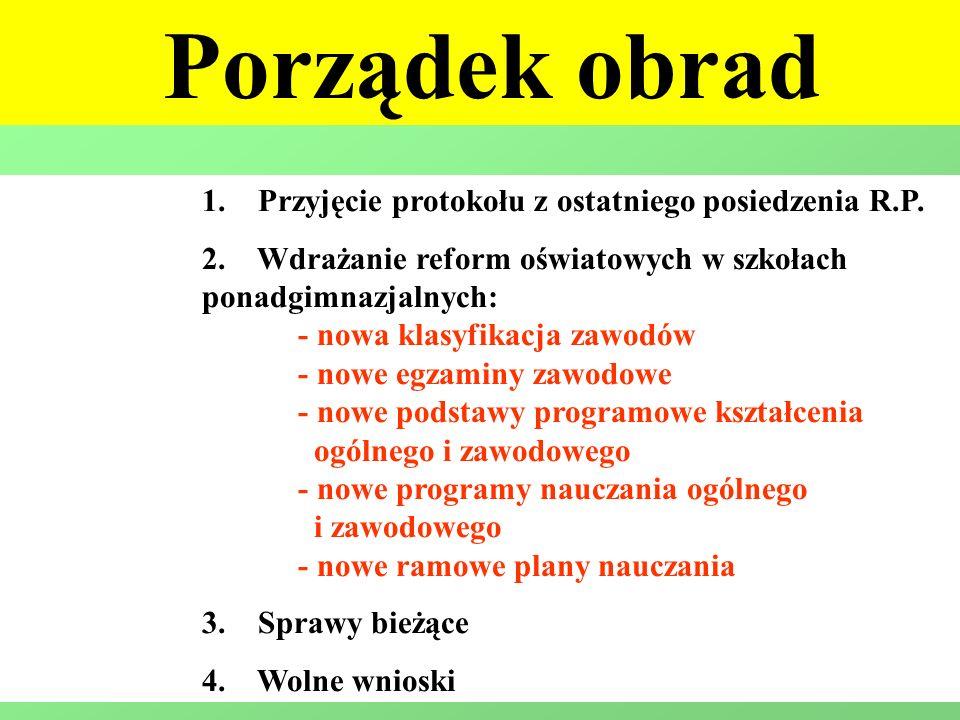 1. Przyjęcie protokołu z ostatniego posiedzenia R.P. 2. Wdrażanie reform oświatowych w szkołach ponadgimnazjalnych: - nowa klasyfikacja zawodów - nowe
