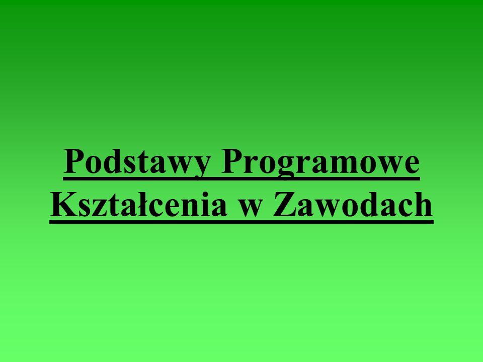 Podstawy Programowe Kształcenia w Zawodach