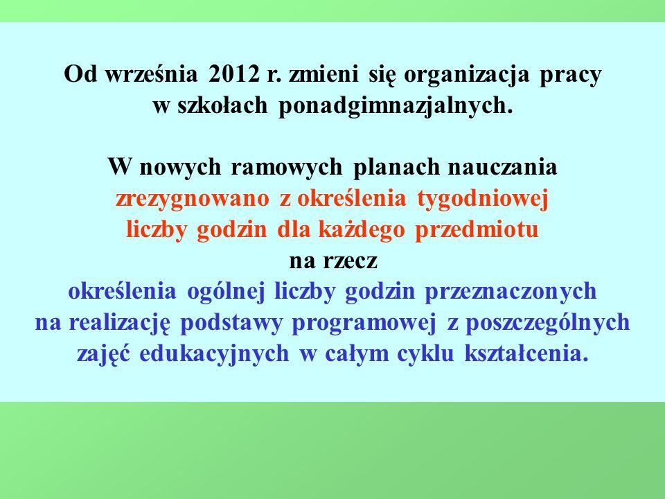Od września 2012 r. zmieni się organizacja pracy w szkołach ponadgimnazjalnych. W nowych ramowych planach nauczania zrezygnowano z określenia tygodnio