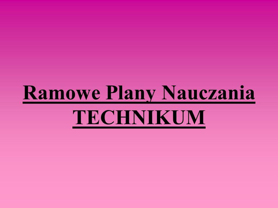 Ramowe Plany Nauczania TECHNIKUM