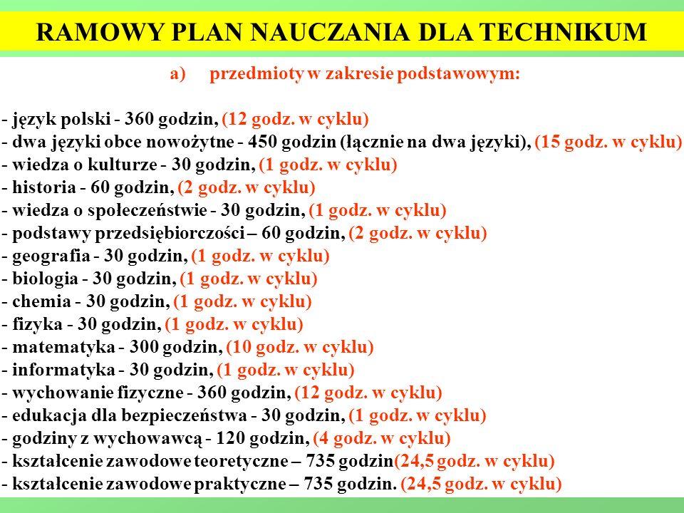 a)przedmioty w zakresie podstawowym: - język polski - 360 godzin, (12 godz. w cyklu) - dwa języki obce nowożytne - 450 godzin (łącznie na dwa języki),