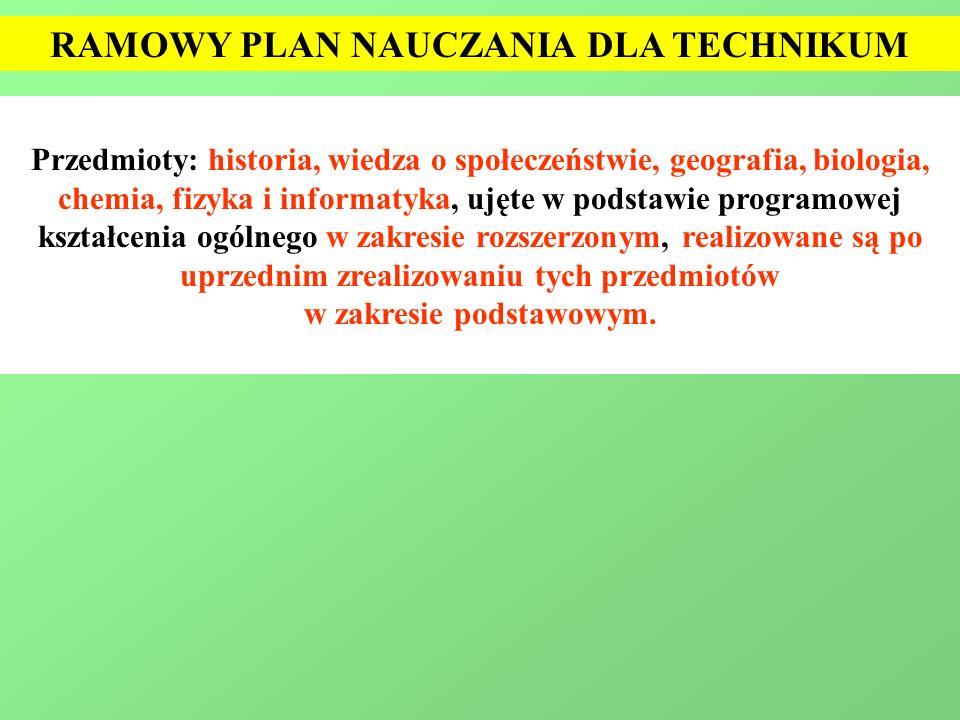 RAMOWY PLAN NAUCZANIA DLA TECHNIKUM Przedmioty: historia, wiedza o społeczeństwie, geografia, biologia, chemia, fizyka i informatyka, ujęte w podstawi