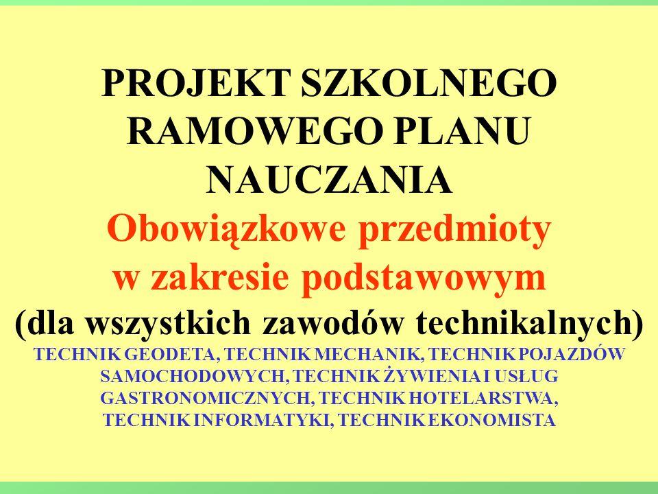PROJEKT SZKOLNEGO RAMOWEGO PLANU NAUCZANIA Obowiązkowe przedmioty w zakresie podstawowym (dla wszystkich zawodów technikalnych) TECHNIK GEODETA, TECHN