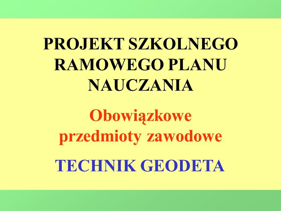 PROJEKT SZKOLNEGO RAMOWEGO PLANU NAUCZANIA Obowiązkowe przedmioty zawodowe TECHNIK GEODETA