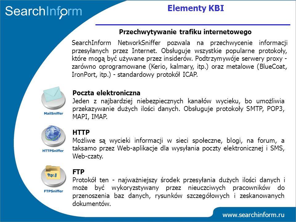 www.searchinform.ru Poczta elektroniczna Jeden z najbardziej niebezpiecznych kanałów wycieku, bo umożliwia przekazywanie dużych ilości danych. Obsługu