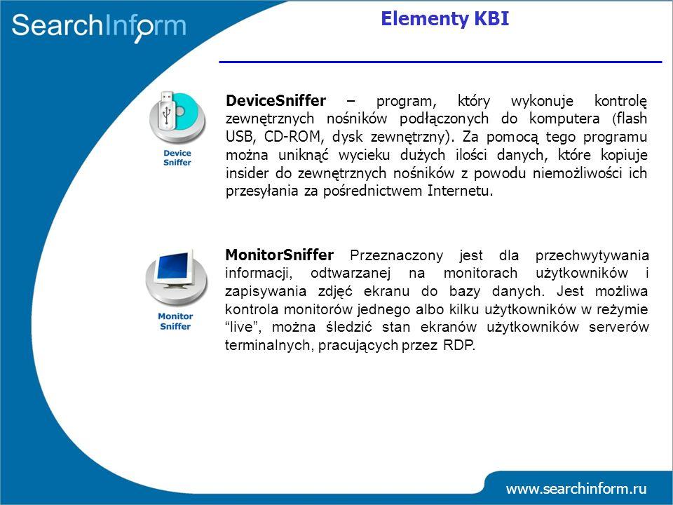 www.searchinform.ru DeviceSniffer – program, który wykonuje kontrolę zewnętrznych nośników podłączonych do komputera ( flash USB, CD-ROM, dysk zewnętr