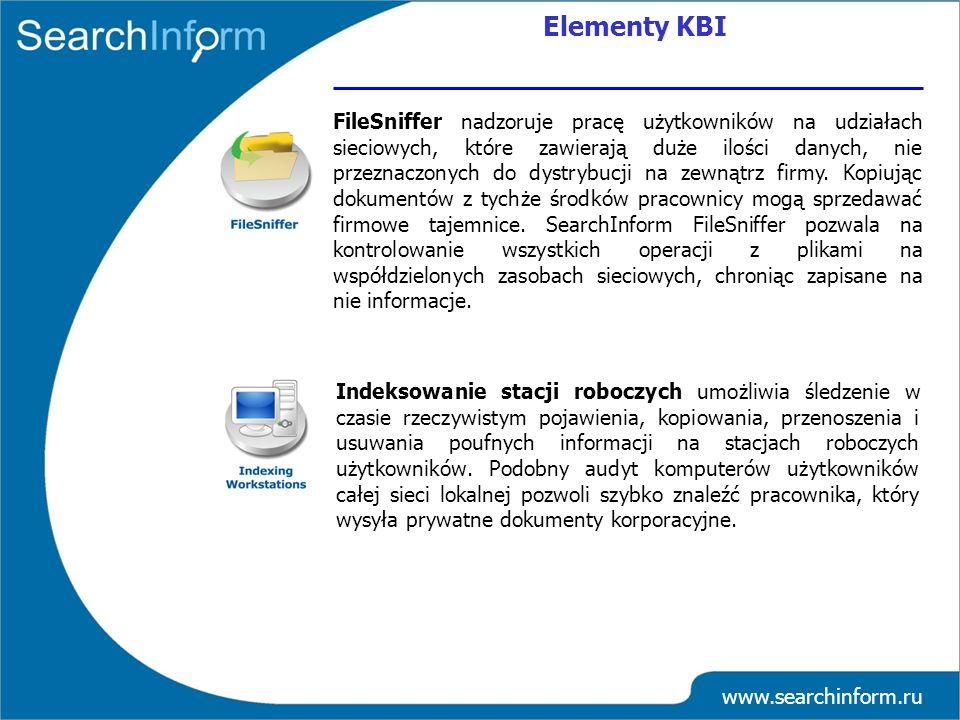 www.searchinform.ru Indeksowanie stacji roboczych umożliwia śledzenie w czasie rzeczywistym pojawienia, kopiowania, przenoszenia i usuwania poufnych i