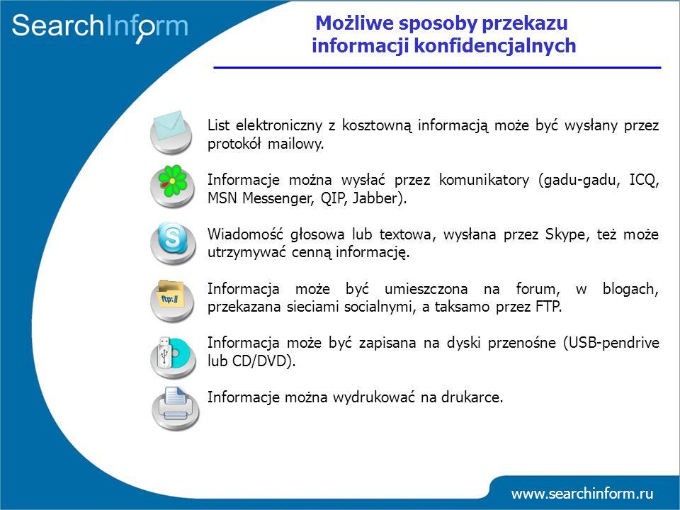 www.searchinform.ru List elektroniczny z kosztowną informacją może być wysłany przez protokół mailowy. Informacje można wysłać przez komunikatory (gad