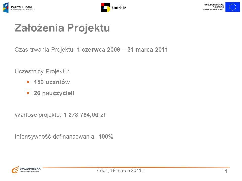 11 Założenia Projektu Czas trwania Projektu: 1 czerwca 2009 – 31 marca 2011 Uczestnicy Projektu: 150 uczniów 26 nauczycieli Wartość projektu: 1 273 76