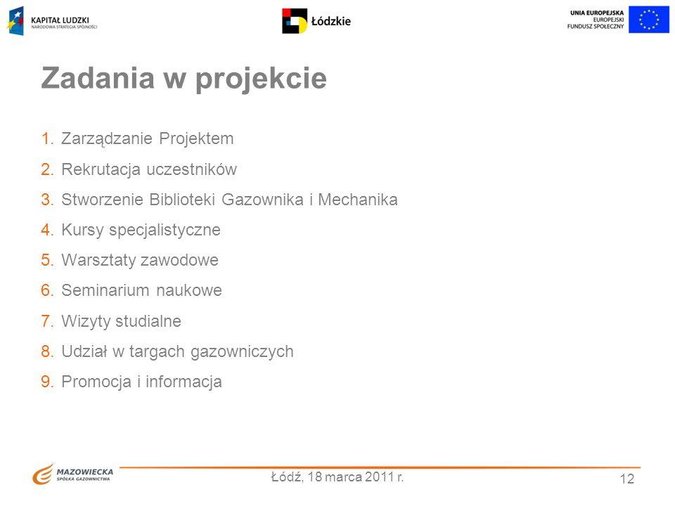 12 Zadania w projekcie 1.Zarządzanie Projektem 2.Rekrutacja uczestników 3.Stworzenie Biblioteki Gazownika i Mechanika 4.Kursy specjalistyczne 5.Warszt