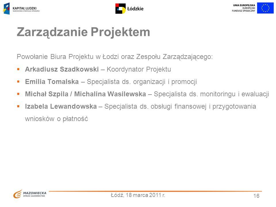 16 Zarządzanie Projektem Powołanie Biura Projektu w Łodzi oraz Zespołu Zarządzającego: Arkadiusz Szadkowski – Koordynator Projektu Emilia Tomalska – S