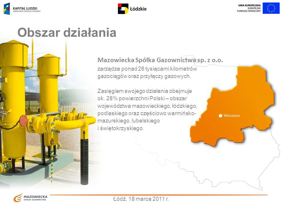 Obszar działania zarządza ponad 26 tysiącami kilometrów gazociągów oraz przyłączy gazowych. Zasięgiem swojego działania obejmuje ok. 28% powierzchni P