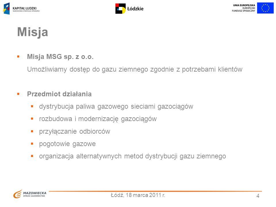 4 Misja Misja MSG sp. z o.o. Umożliwiamy dostęp do gazu ziemnego zgodnie z potrzebami klientów Przedmiot działania dystrybucja paliwa gazowego sieciam