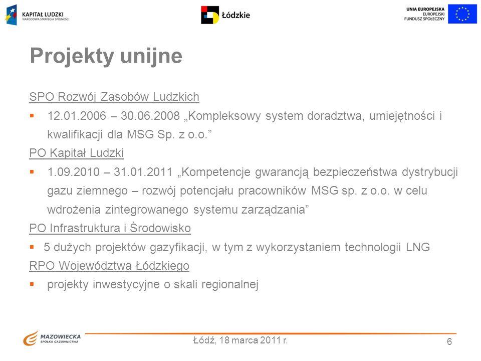 6 Projekty unijne SPO Rozwój Zasobów Ludzkich 12.01.2006 – 30.06.2008 Kompleksowy system doradztwa, umiejętności i kwalifikacji dla MSG Sp. z o.o. PO