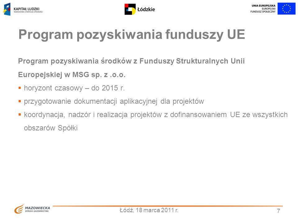 7 Program pozyskiwania funduszy UE Program pozyskiwania środków z Funduszy Strukturalnych Unii Europejskiej w MSG sp. z.o.o. horyzont czasowy – do 201