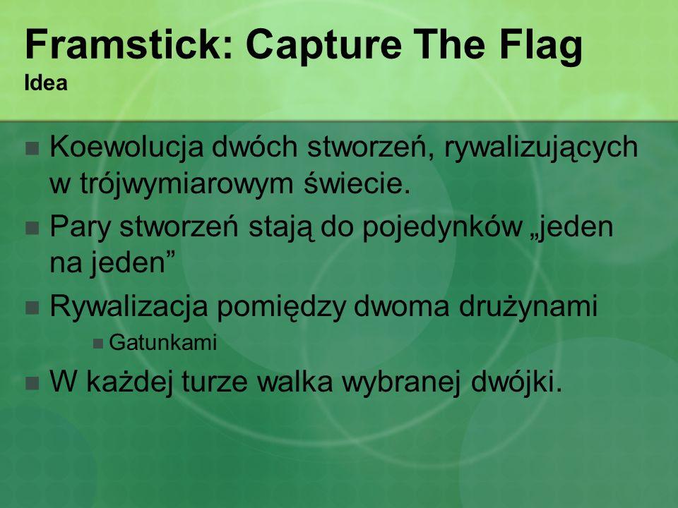 Framstick: Capture The Flag Idea Koewolucja dwóch stworzeń, rywalizujących w trójwymiarowym świecie. Pary stworzeń stają do pojedynków jeden na jeden