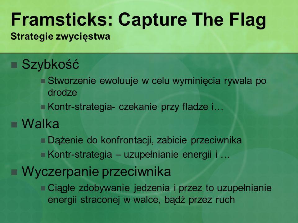 Framsticks: Capture The Flag Strategie zwycięstwa Szybkość Stworzenie ewoluuje w celu wyminięcia rywala po drodze Kontr-strategia- czekanie przy fladz
