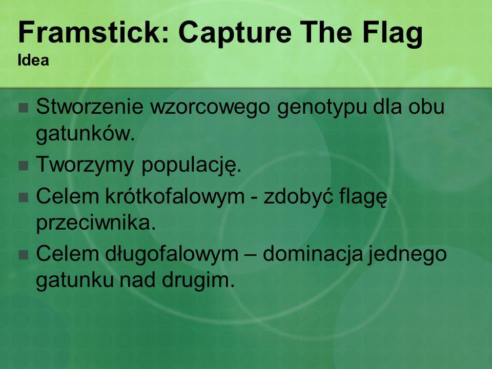 Framstick: Capture The Flag Idea Stworzenie wzorcowego genotypu dla obu gatunków. Tworzymy populację. Celem krótkofalowym - zdobyć flagę przeciwnika.