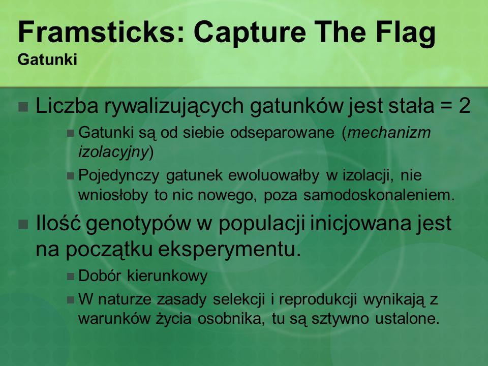 Framsticks: Capture The Flag Gatunki Liczba rywalizujących gatunków jest stała = 2 Gatunki są od siebie odseparowane (mechanizm izolacyjny) Pojedynczy