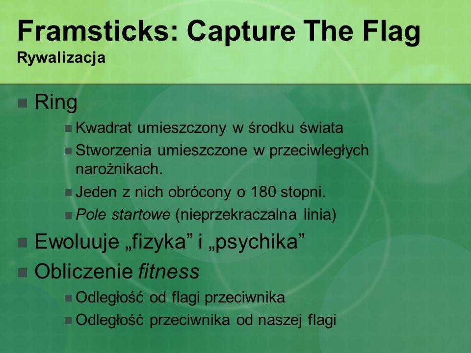 Framsticks: Capture The Flag Rywalizacja Ring Kwadrat umieszczony w środku świata Stworzenia umieszczone w przeciwległych narożnikach. Jeden z nich ob