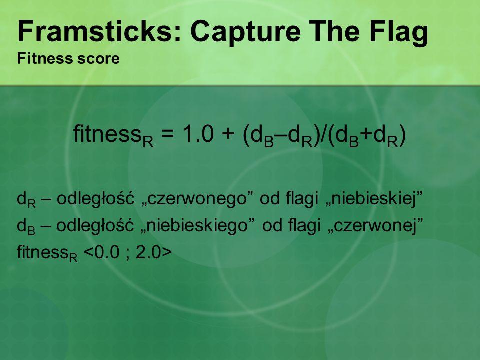 Framsticks: Capture The Flag Fitness score fitness R = 1.0 + (d B –d R )/(d B +d R ) d R – odległość czerwonego od flagi niebieskiej d B – odległość n