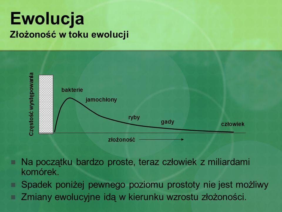 Ewolucja Złożoność w toku ewolucji Na początku bardzo proste, teraz człowiek z miliardami komórek. Spadek poniżej pewnego poziomu prostoty nie jest mo