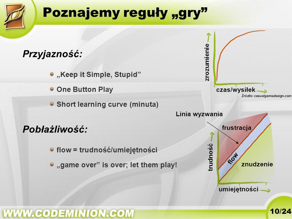 Poznajemy reguły gry Przyjazność: Keep it Simple, Stupid One Button Play Short learning curve (minuta) Pobłażliwość: flow = trudność/umiejętności game