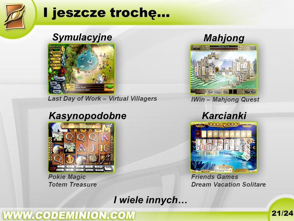 I jeszcze trochę… 21/24 Symulacyjne Mahjong Karcianki I wiele innych… Pokie Magic Totem Treasure Last Day of Work – Virtual Villagers IWin – Mahjong Q