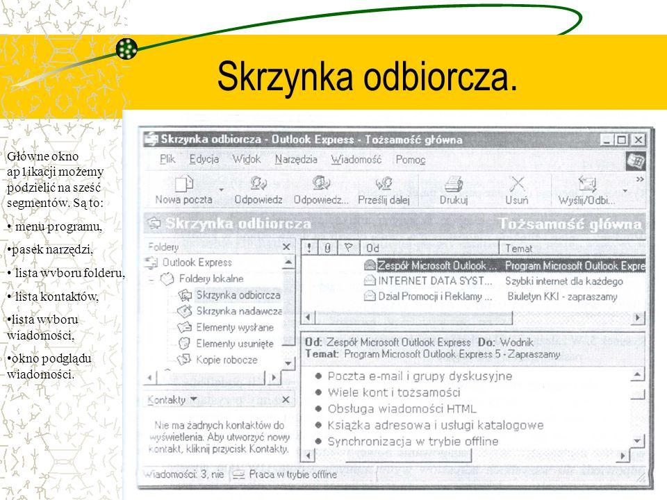 Skrzynka odbiorcza. Główne okno ap1ikacji możemy podzielić na sześć segmentów. Są to: menu programu, pasek narzędzi, lista wvboru folderu, lista konta