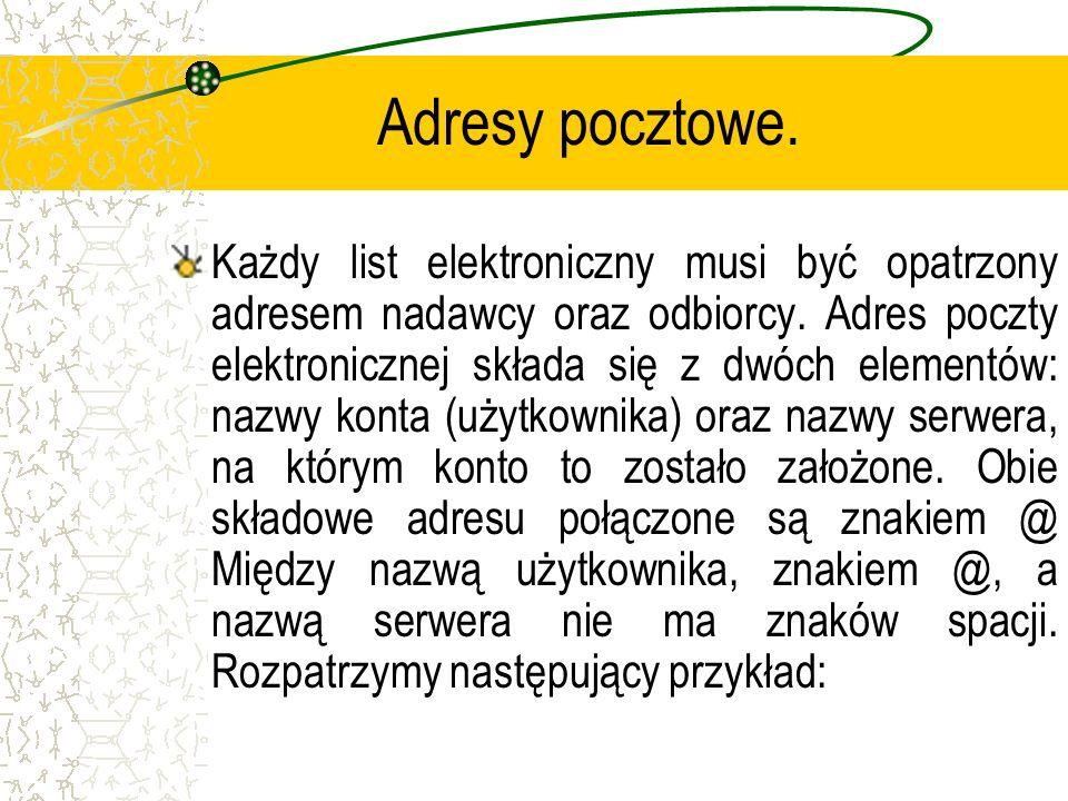 Adresy pocztowe. Każdy list elektroniczny musi być opatrzony adresem nadawcy oraz odbiorcy. Adres poczty elektronicznej składa się z dwóch elementów: