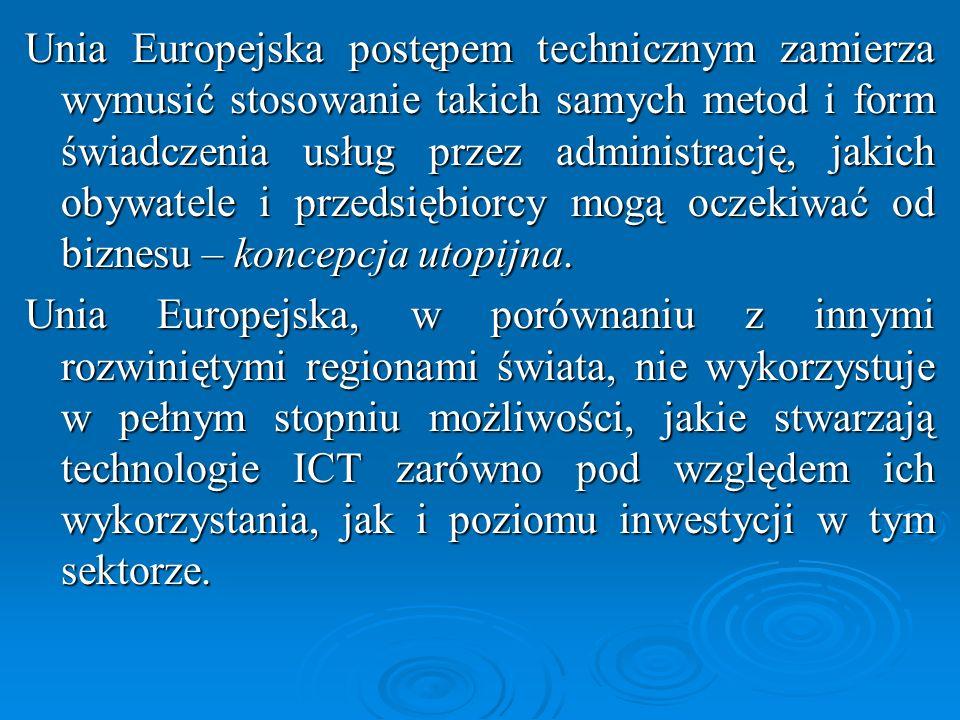 Wybrane obszary działania strategii: eGovernment - elektroniczna administracja Pełna realizacja koncepcji eGovernmentu nastąpi do 2020 r.: (1) administracja przyjazna obywatelowi, (2) dostępna w każdym miejscu i o każdym czasie za pośrednictwem Internetu, bez konieczności osobistego uczestnictwa obywatela w skomplikowanych procedurach administracyjnych.