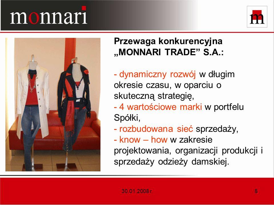 30.01.2008 r.8 Przewaga konkurencyjna MONNARI TRADE S.A.: - dynamiczny rozwój w długim okresie czasu, w oparciu o skuteczną strategię, - 4 wartościowe