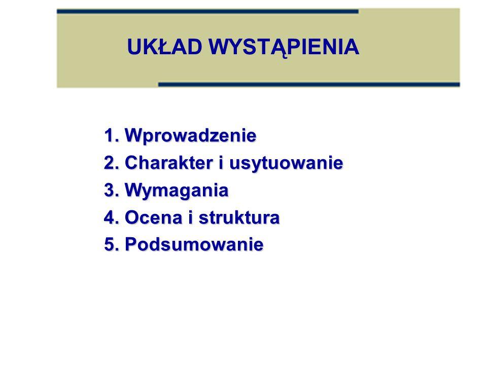 UKŁAD WYSTĄPIENIA 1. Wprowadzenie 2. Charakter i usytuowanie 3. Wymagania 4. Ocena i struktura 5. Podsumowanie