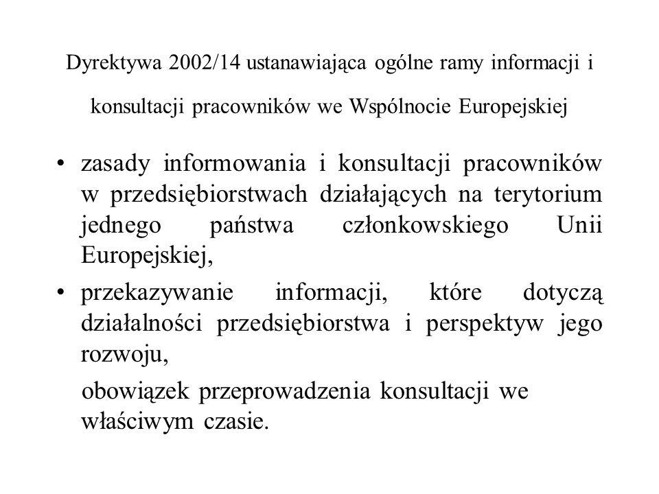 Dyrektywa 2002/14 ustanawiająca ogólne ramy informacji i konsultacji pracowników we Wspólnocie Europejskiej zasady informowania i konsultacji pracowni